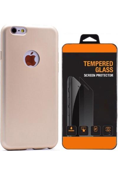 Aksesuarkolic Apple iPhone 6 6S Plus Kılıf Mat Silikon + Tempered Glass Altın