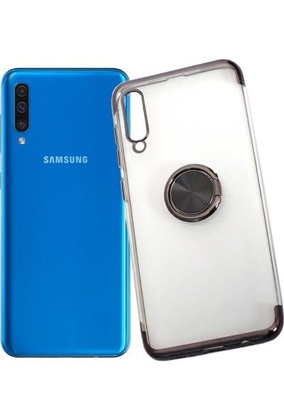 Aksesuarkolic Samsung Galaxy A50 Kılıf Yüzüklu Standlı Manyetik Silikon Gess Arka Kapak Siyah