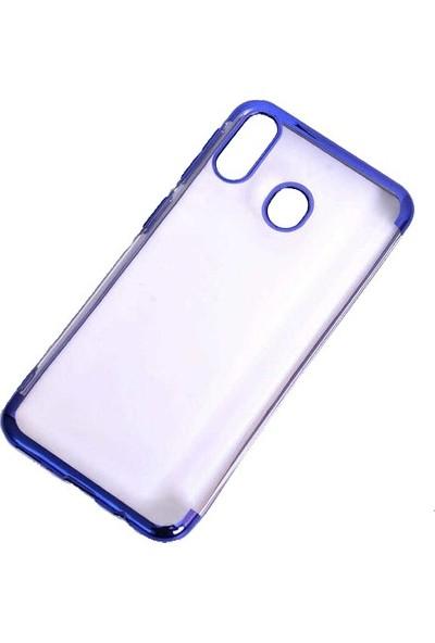 Aksesuarkolic Samsung Galaxy M20 Kılıf 4 Koseli Renkli Lazer Silikon Arka Kapak Glitter Mavi