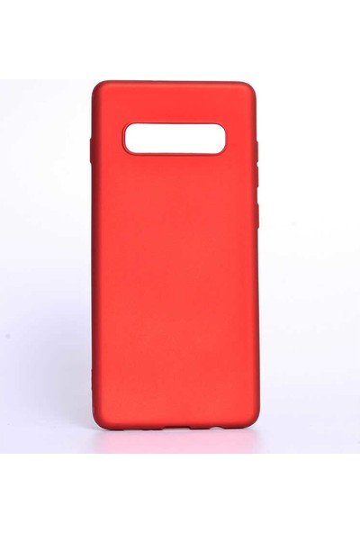 Aksesuarkolic Samsung Galaxy S10E Kılıf Mat Silikon Arka Kapak Premier Kırmızı