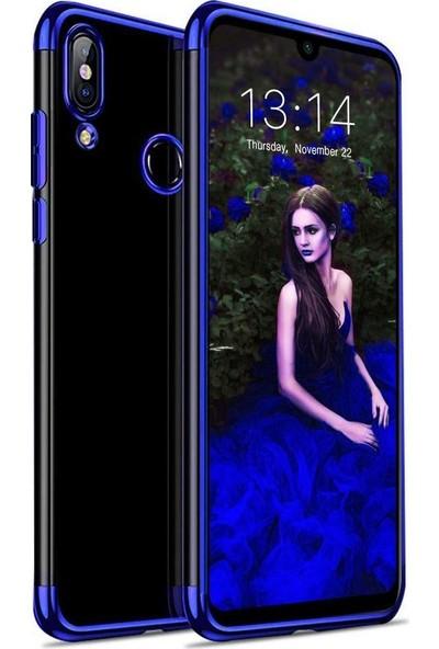 Aksesuarkolic Xiaomi Redmi Note 7 Kılıf 4 Koseli Renkli Lazer Silikon Arka Kapak Glitter Mavi