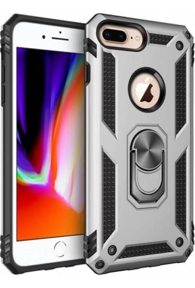 Aksesuarkolic Apple iPhone 8 Plus Kılıf Zırhlı Standlı Mıknatıslı Silikon Vega Kapak Gri