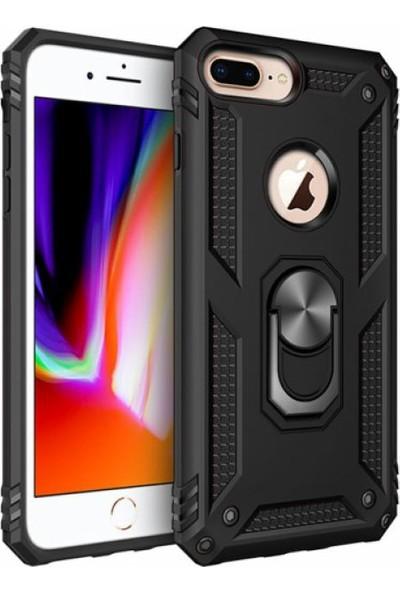 Aksesuarkolic Apple iPhone 8 Plus Kılıf Zırhlı Standlı Mıknatıslı Silikon Vega Kapak Siyah