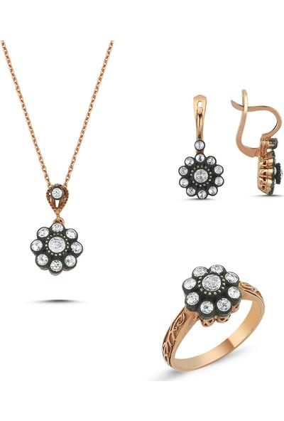 Aypa Mücevher Elmas Taşlı Çiçek Modelli Set