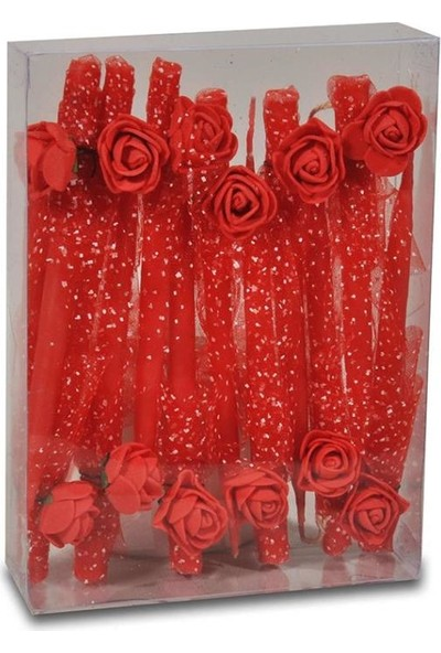PartiPan Kırmızı Çiçekli Kına Gecesi El Mumu 12'li