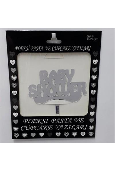 PartiPan Pleksi Baby Shower Pasta Üstü Süsü Gümüş