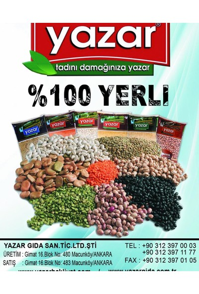 Yazar Yeşil Mercimek Yerlı(Yozgat Yöresı) 10 kg