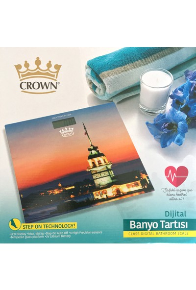 Crown Kız Kulesi Desenli Dijital Cam Baskül Terazi Tartı
