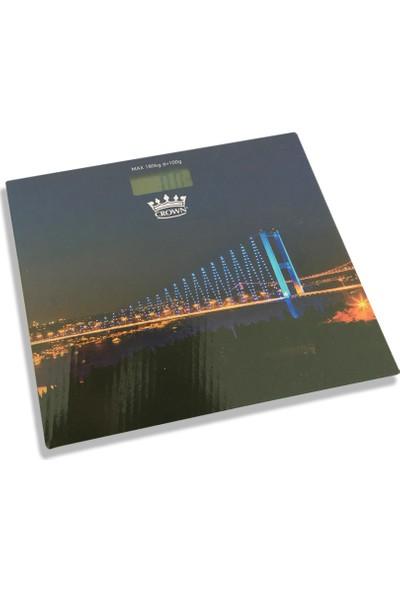 Crown Köprü Desenli Dijital Cam Baskül Terazi Tartı