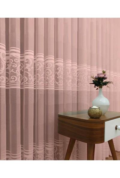 Caserta Home 1/2,5 Orta Pileli Piazo Pudra Ara Kortlu Şal Desenli Düz Tül Perde - 75 x 150 cm