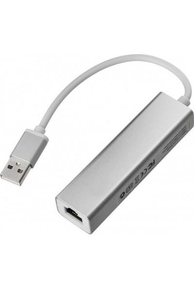 TriLine Alüminyum USB To RJ45 Ethernet + USB 3 Port Hub Çoklayıcı