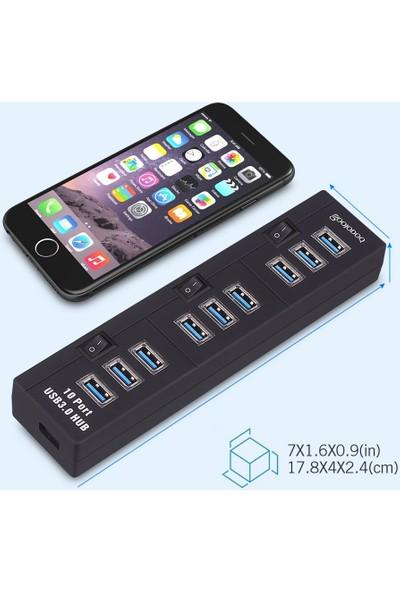 TriLine 10 Port USB Hub Çoklayıcı USB 3.0 Adaptörlü On Off Tuşlu