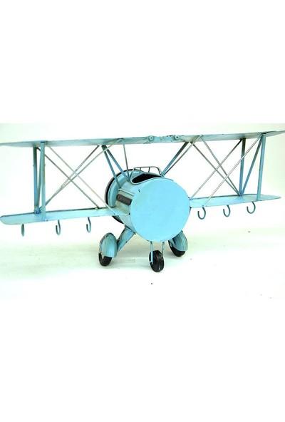 Evim Tatlı Evim Dekoratif Metal Uçak Askılı Ve Saatli 42 cm