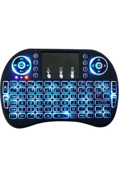 Smart Işıklı Kablosuz Mini Klavye SmartTV Televizyon PS3 Dokunmatik Mouse