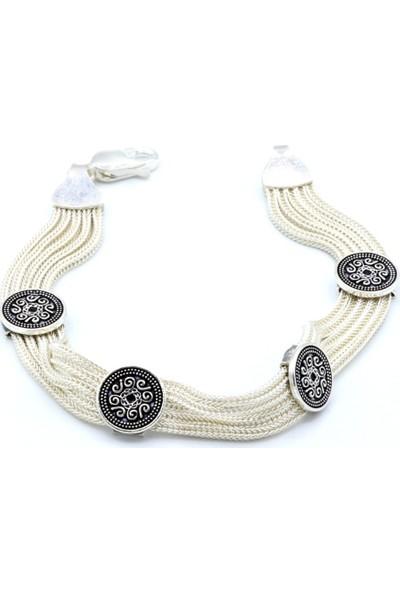 Akyüz Gümüş İşlemeli Mardin Hasırı Gümüş Bileklik 049