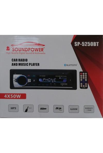 Sound Power 2019 Yeni Yaz Serisi Sp-5250Bt 4X50Watt Ses Çıkışı Bluetooth Usb Sd Oto Teyp