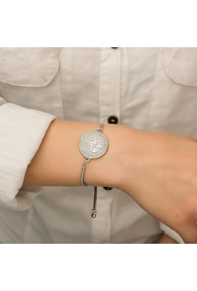 Ervanur Gümüş Kaplama Ayarlanabilir Tuğra Asansör Bayan Bileklik