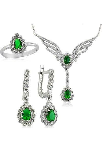 Ervanur Gümüş Yeşil Taşlı Kanat Bayan Set