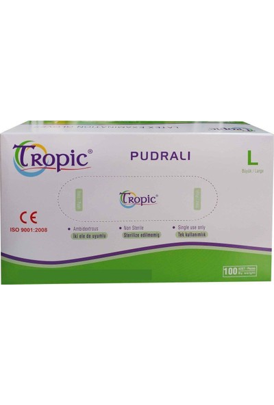 Tropic Pudralı Lateks Eldiven L (100'lü Paket )