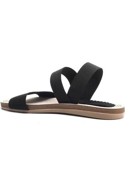 Sanita Hasır Elastik Taban Lastik Bant Kadın Sandalet