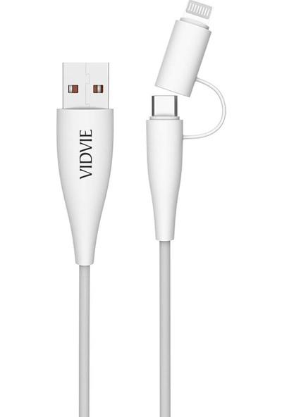 Vidvie CB415 2in1 Lightning / Micro USB Şarj & Data Kablo 100 cm - Beyaz