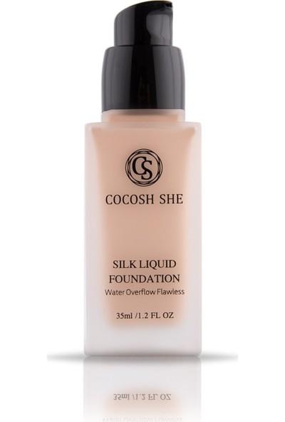 Cocosh She Silk Liquuid Foundation Water Owerflow Flawless Waterproof Silk Likit Fondöten01 - Porcelain