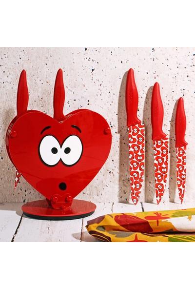 İkbal Home Rooc 6'lı Şaşkın Standlı Bıçak Seti Kırmızı Bıçak Takımı