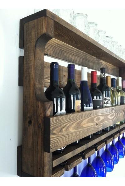 Ada Tasarım Ahşap Raflı Şaraplık Kadeh Askısı 8'li