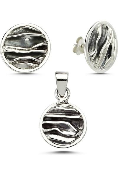 Silverella Gümüş Taşsız Buruşuk Kare Set