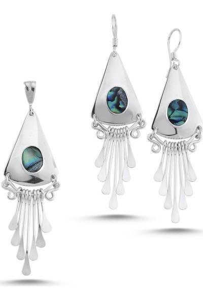 Silverella Gümüş Abalonlu El İşi Set
