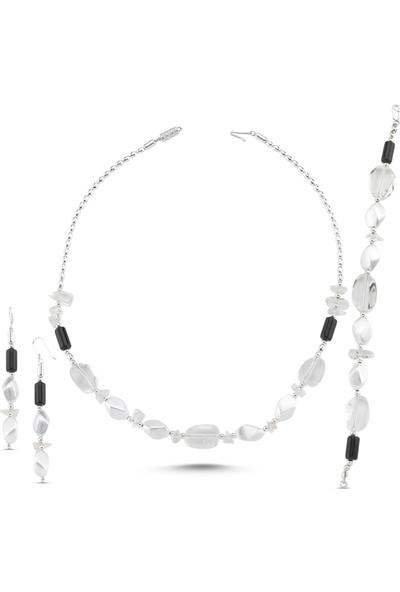 Silverella Gümüş Oniks Ve Kuvars Taşlı Kolye, Bileklik Ve Küpe Set