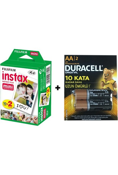 Fujifilm Instax Mini Fotoğraf Filmi 20'li - Duracell Aa Kalem Pil 2 Adet Hediyeli