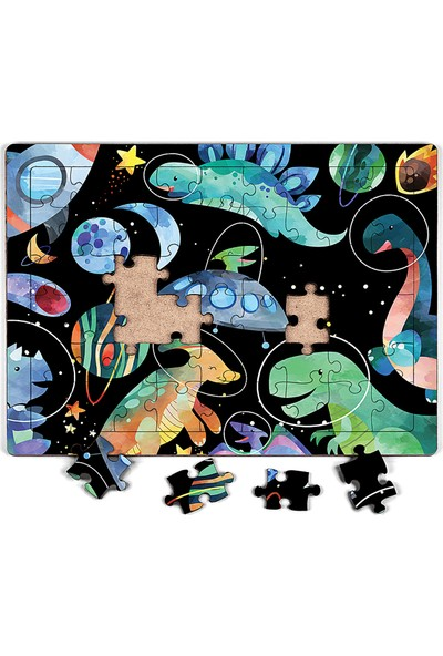 King Of Puzzle Dinzorlar Uzayda Ahşap Puzzle 54 Parça (Lıv-06)