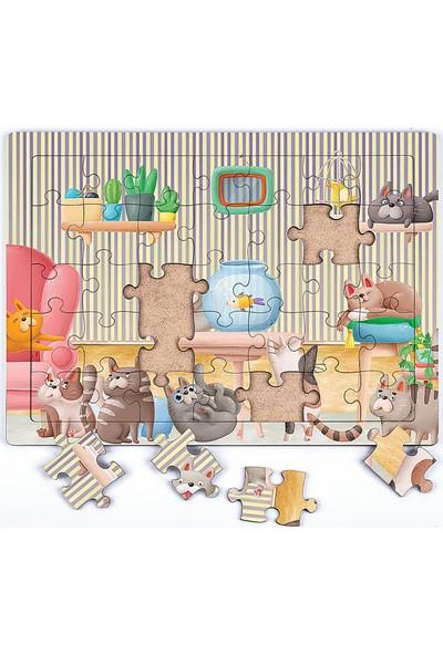 King Of Puzzle Akvaryum Ve Kediler Ahşap Puzzle 35 Parça (Xxxv-01)
