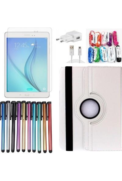 EssLeena Samsung PlusTech Kılıf Seti Galaxy Tab S4 Sm-T830/T835 10.5 İnç 360 Derece Dönebilen Kılıf+9H Koruyucu Cam+Kalem+Şarj Seti+Kulaklık Beyaz