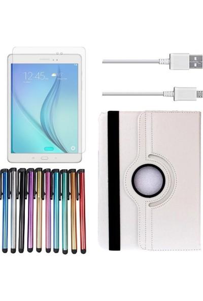 EssLeena Samsung PlusTech Kılıf Seti Galaxy Tab E Sm-T560/T561/T562/T565/T567 9.6 İnç 360 Derece Dönebilen Kılıf+9H Koruyucu Cam+Kalem+Şarj Kablosu Beyaz