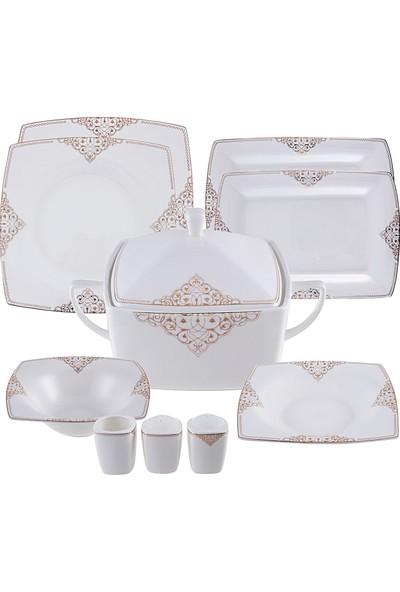 Karaca Fine Pearl Simyacı 62 Parça 12 Kişilik İnci Yemek Takımı Kare