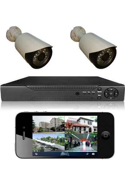 Picam 2 Kameralı Set Gece Görüşlü Güvenlik Kamerası 2mp Ahd Dvr Plastik Kasa