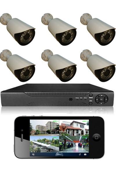 Picam 6 Kameralı Set Gece Görüşlü Güvenlik Kamerası 2mp Ahd Dvr Plastik Kasa