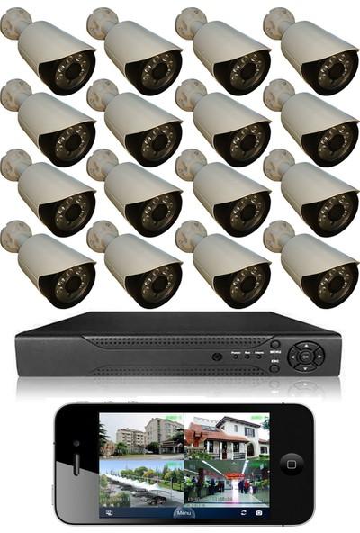 Picam 16 Kameralı Set Gece Görüşlü Güvenlik Kamerası 2mp Ahd Dvr Plastik Kasa