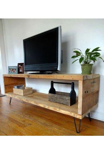 Homedit Tv Ünitesi Sehpası Doğal Ağaç Firkete Ayaklı