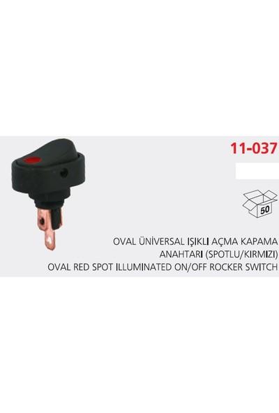 Aksa Oval Unıversal Işıklı Açma Kapama Anahtarı Spotlukırmızı