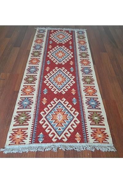 Lidya Tekstil Kırmızı Uşak Kilimi - Çift Taraflı Antik Tarz Eşme Desen Kilim Yolluk