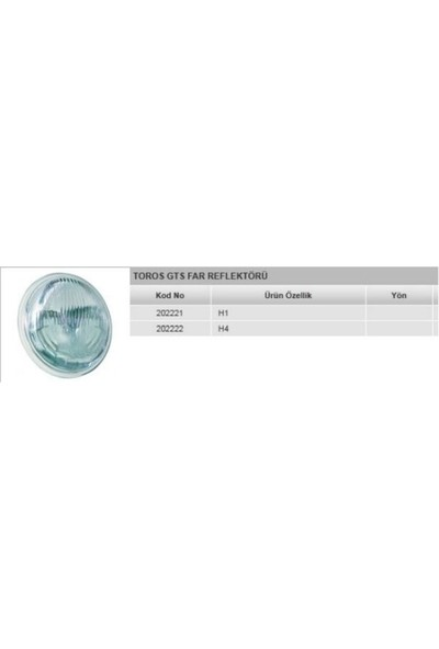 Ayfar Far Reflektörü H1 Cercevesız R12 Gts