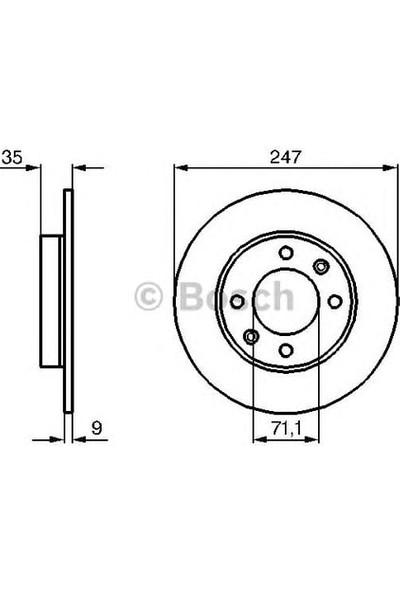 Bosch Fren Diski Arka 4D 247Mm 307 C2 C3 C4 Partner Xsara P