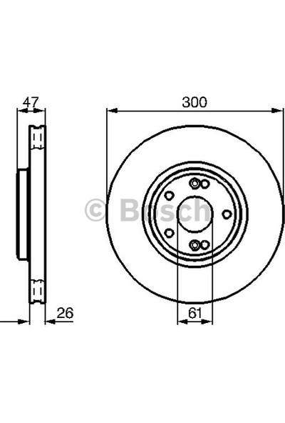 Bosch Fren Diski Ön 5D 300Mm Laguna II 01 Teklı