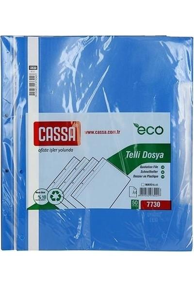 Cassa Plastik Telli Dosya Mavi 50'Li 2 Paket (100 Adet )
