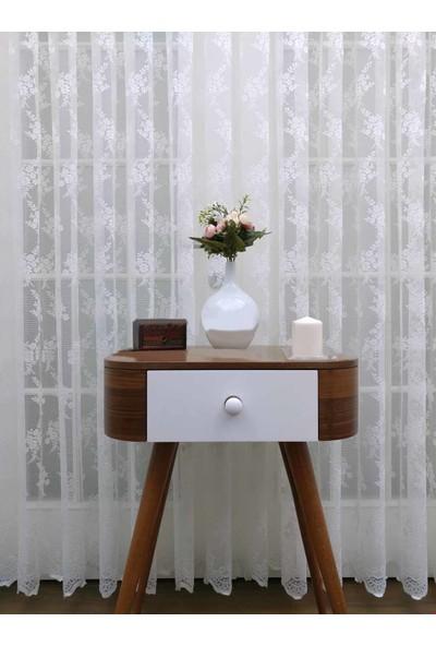 Caserta Home 1/2 Seyrek Pileli Seher Beyaz Demet Çiçek Desenli Örme Tül Perde - 75 x 150 cm