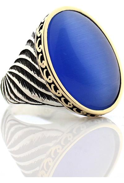 Hanzade Gümüş 925 Ayar Gümüş Açık Mavi Kedi gözü Taşlı Erkek Yüzük