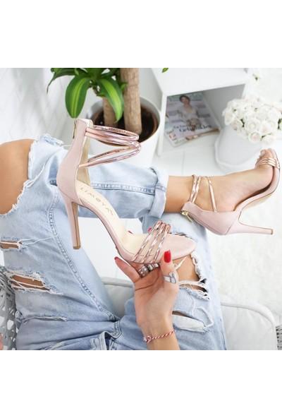 Limoya Orela Pudra Süet Roze İnce Topuklu Ayakkabı